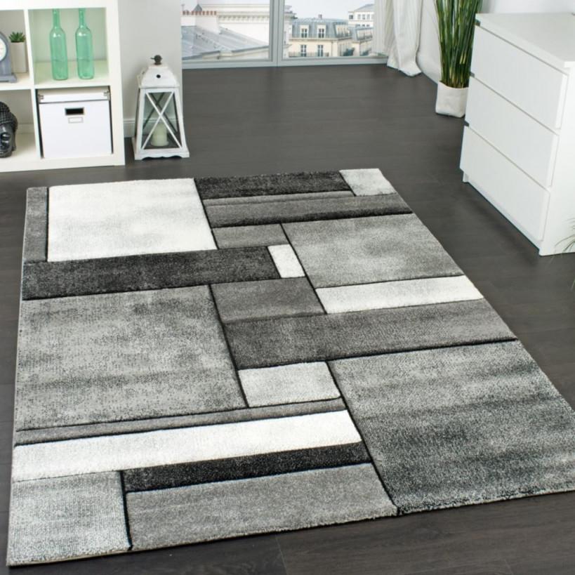 Designer Teppich Kariert Wohnzimmer Teppich Modern Trendig Meliert In Grau von Wohnzimmer Teppich Hellgrau Bild
