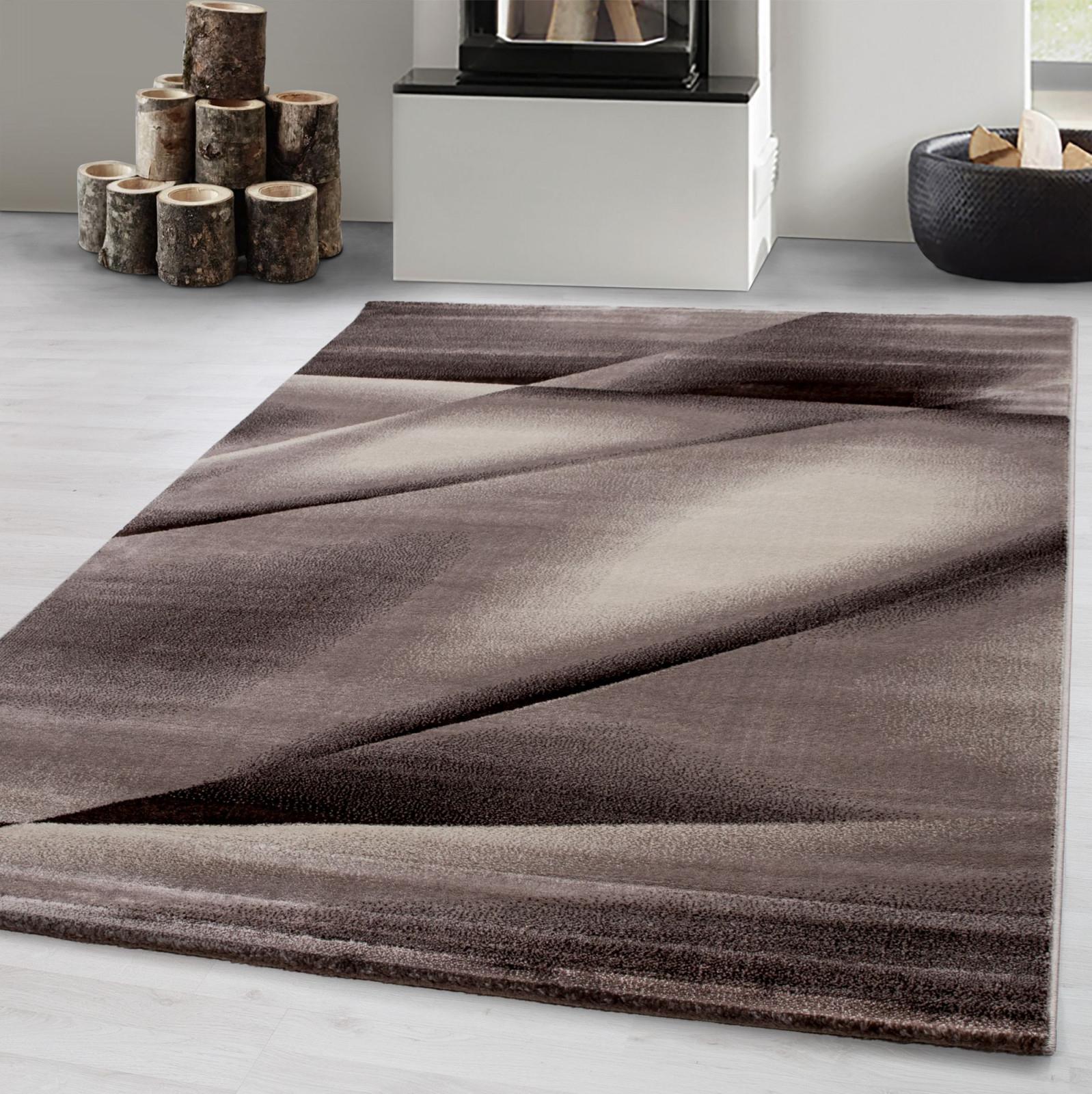 Designer Teppich Kurzflorwohnzimmerteppichlinien Wellen Gemustertbraun   Mono Home Gmbh von Wohnzimmer Teppich Braun Bild