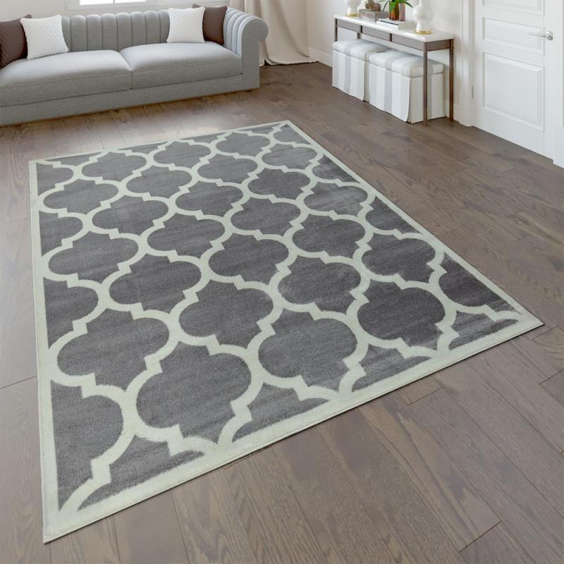 Designer Teppich Marokkanisches Muster Grau von Grauer Teppich Wohnzimmer Photo