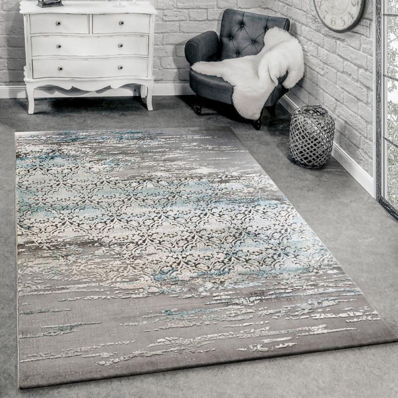 Designer Teppich Meliert Grau Blau von Teppich Wohnzimmer Modern Bild