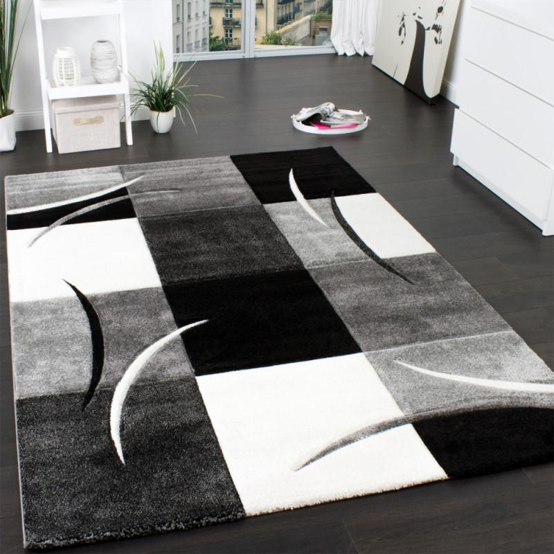 Designer Teppich Mit Konturenschnitt Muster Kariert In Schwarz Weiss Grau  Grösse160X230 Cm von Wohnzimmer Teppich Schwarz Photo