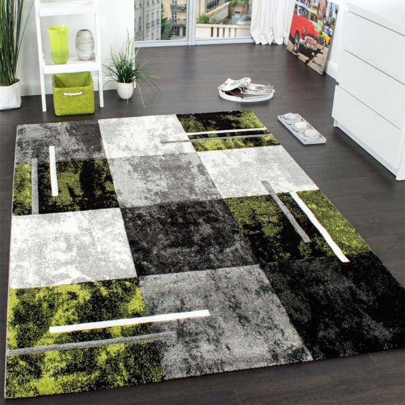 Designer Teppich Modern Mit Konturenschnitt Karo Muster Grau von Teppich Grün Wohnzimmer Bild