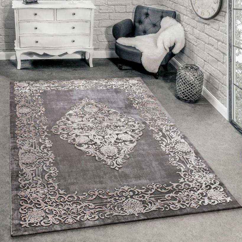 Designer Teppich Modern Wohnzimmer Teppiche 3D Barock Muster In Grau Beige  Creme von 3D Teppich Wohnzimmer Bild