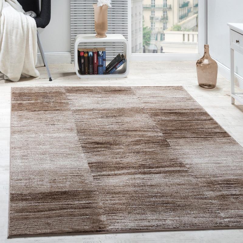 Designer Teppich Modern Wohnzimmer Teppiche Kurzflor Karo Meliert Braun  Beige Grösse160X220 Cm von Wohnzimmer Teppich Braun Beige Bild