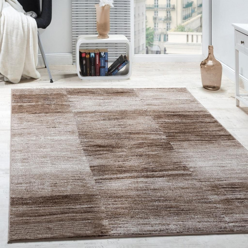 Designer Teppich Modern Wohnzimmer Teppiche Kurzflor Karo Meliert Braun  Beige von Teppich Für Wohnzimmer Bild