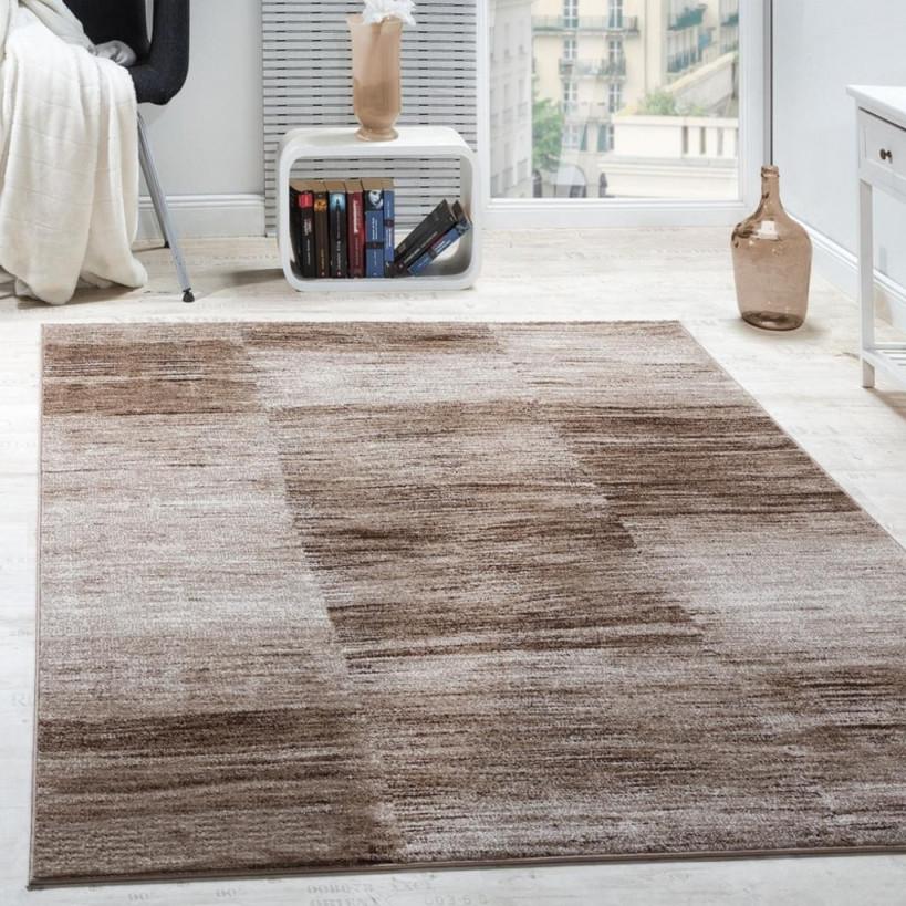 Designer Teppich Modern Wohnzimmer Teppiche Kurzflor Karo Meliert Braun  Beige von Teppich Wohnzimmer Groß Bild