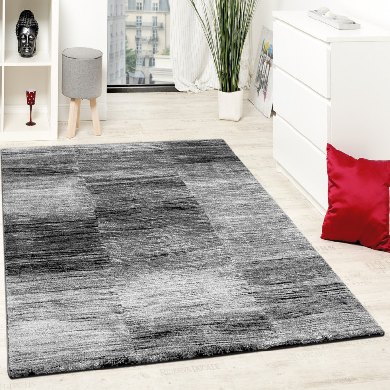 Designer Teppich Modern Wohnzimmer Teppiche Kurzflor Karo Meliert Grau  Schwarz Grösse60X100 Cm von Teppich Grau Wohnzimmer Photo