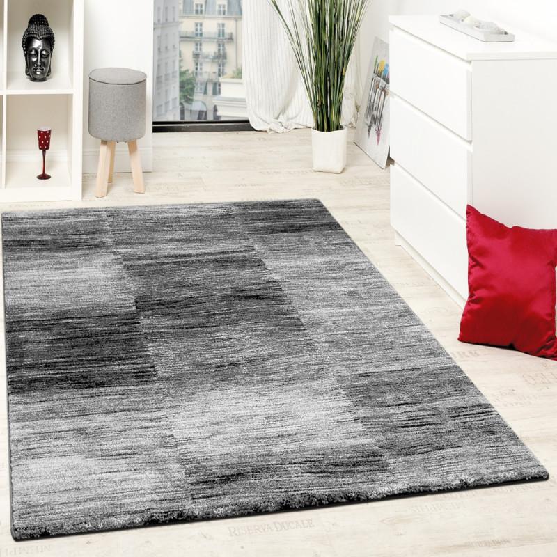 Designer Teppich Modern Wohnzimmer Teppiche Kurzflor Karo Meliert Grau  Schwarz Grösse60X100 Cm von Wohnzimmer Teppich Grau Kurzflor Bild