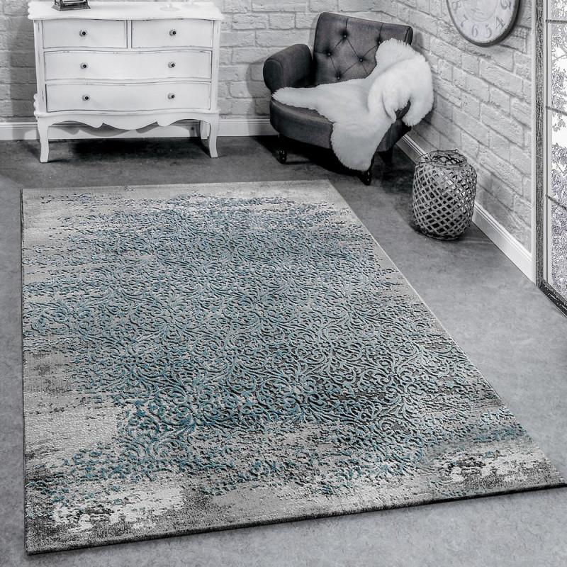 Designer Teppich Ornamente Grau Blau von Wohnzimmer Teppich Blau Bild