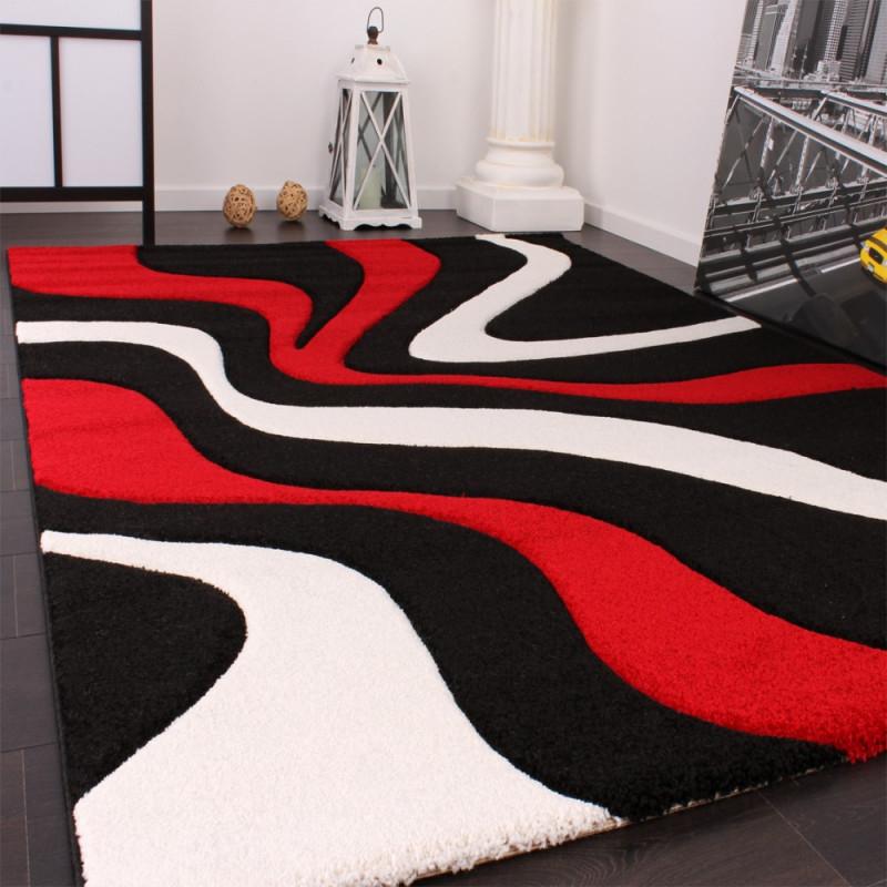 Designer Teppich Rot Schwarz von Schwarzer Teppich Wohnzimmer Bild