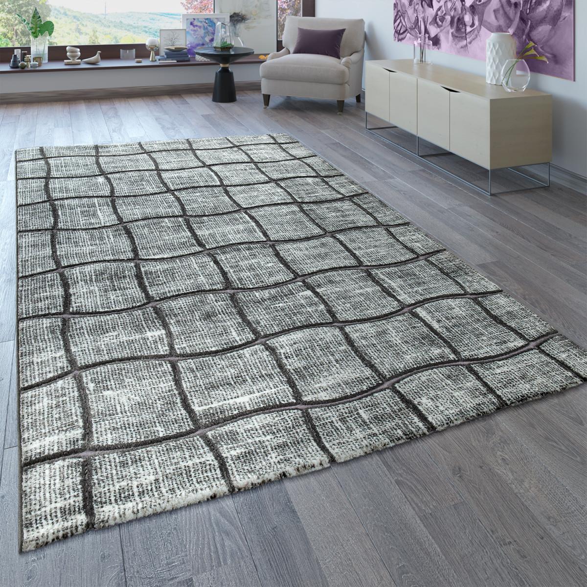 Designer Teppich Wohnzimmer Grau Anthrazit 3D Karo Muster Abstrakt Kurzflor von Designer Teppich Wohnzimmer Photo