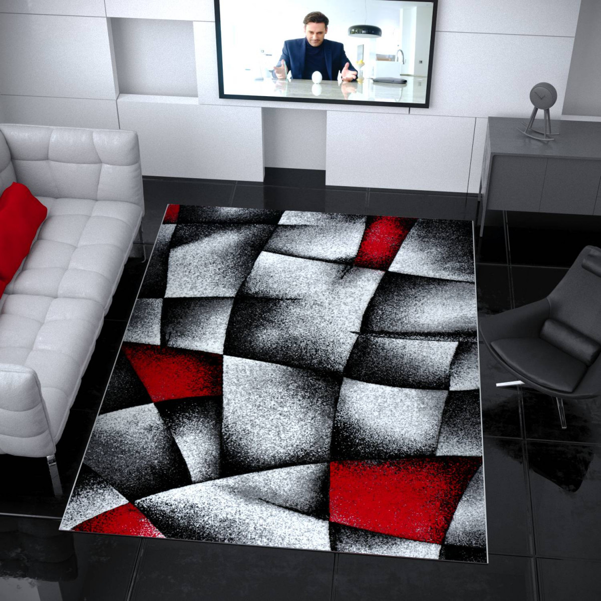 Designer Teppich Wohnzimmer Grau Rot Modern Dicht Gewebt Mit  Konturenschnitt  I9445 von Bilder Wohnzimmer Rot Grau Photo