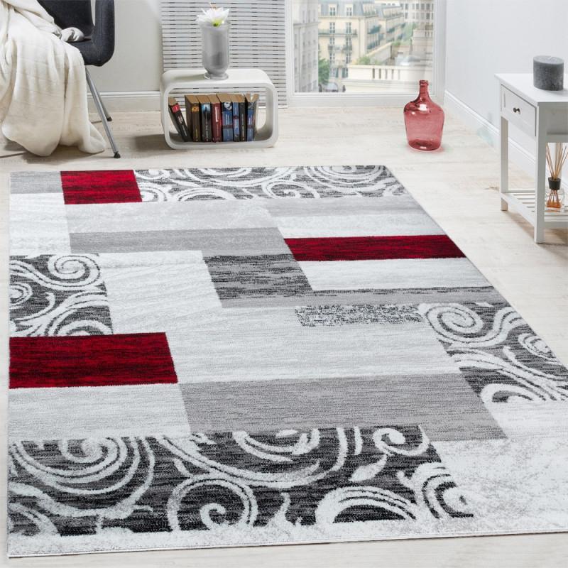 Designer Teppich Wohnzimmer Inneneinrichtung Floral Muster Meliert Hell  Grau Rot Grösse160X220 Cm von Teppich Wohnzimmer Hell Bild