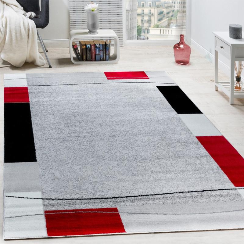 Designer Teppich Wohnzimmer Kurzflor Modern Elegant Bordüre In Grau Schwarz  Rot von Teppich Wohnzimmer Rot Photo