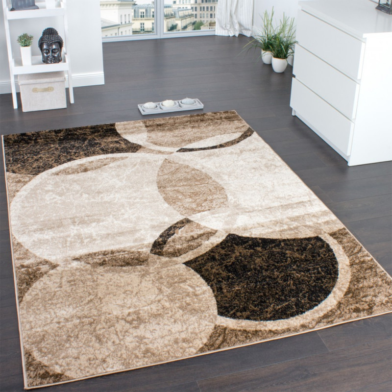 Designer Teppich Wohnzimmer Teppich Kreis Muster In Braun Beige Preishammer von Wohnzimmer Teppich Braun Beige Photo