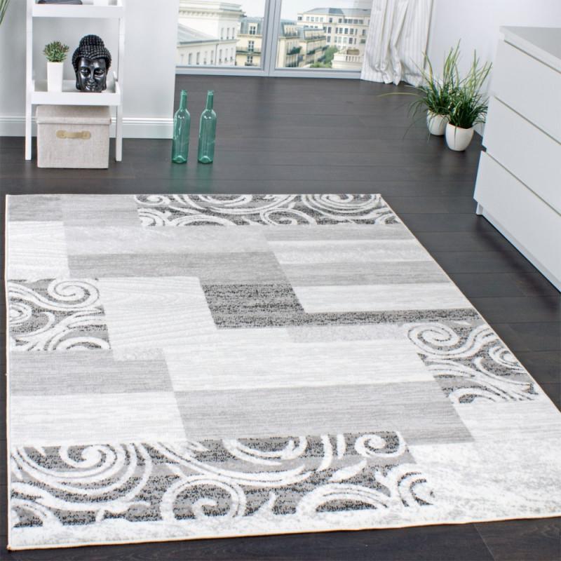 Designer Teppich Wohnzimmer Teppich Kurzflor Muster In Grau Creme  Preishammer Grösse240X340 Cm von Wohnzimmer Teppich Kurzflor Bild