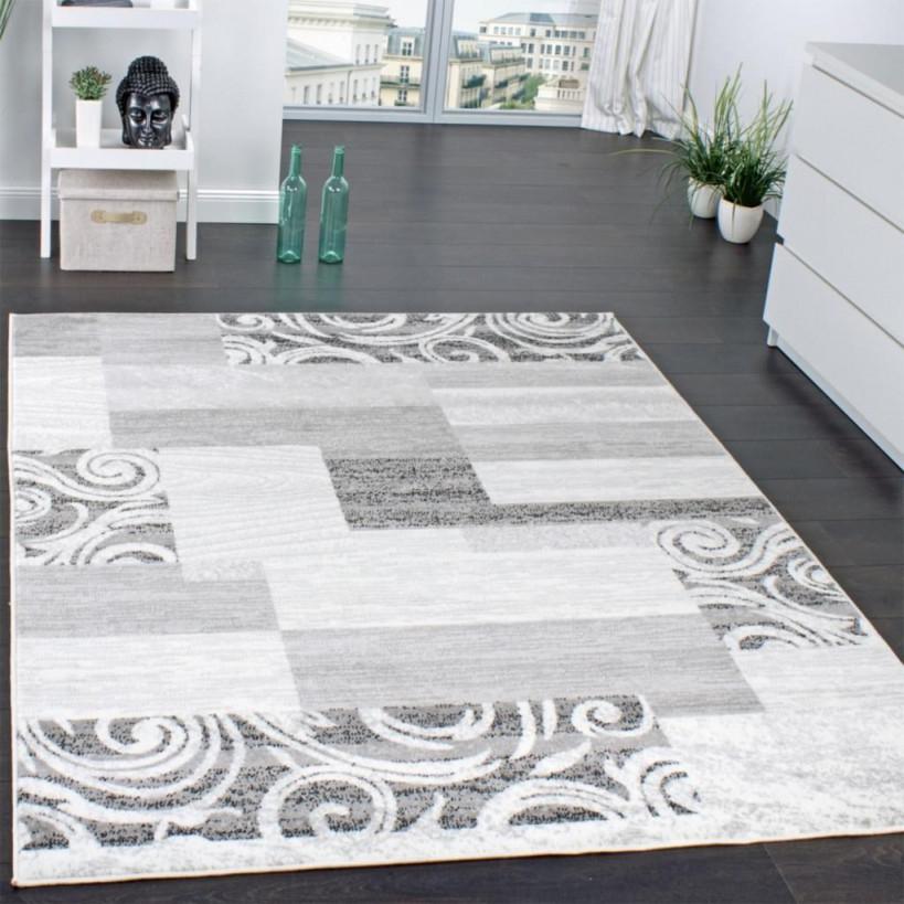 Designer Teppich Wohnzimmer Teppich Kurzflor Muster In Grau Creme  Preishammer von Grauer Teppich Wohnzimmer Bild