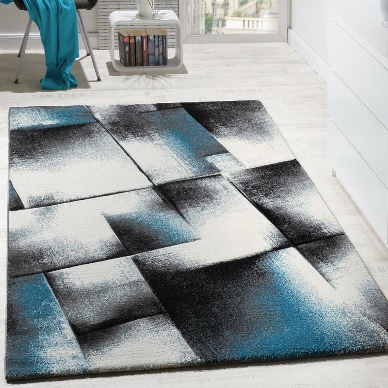 Designer Teppich Wohnzimmer Teppiche Kurzflor Meliert Türkis Grau Creme  Schwarz von Wohnzimmer Teppich Türkis Bild