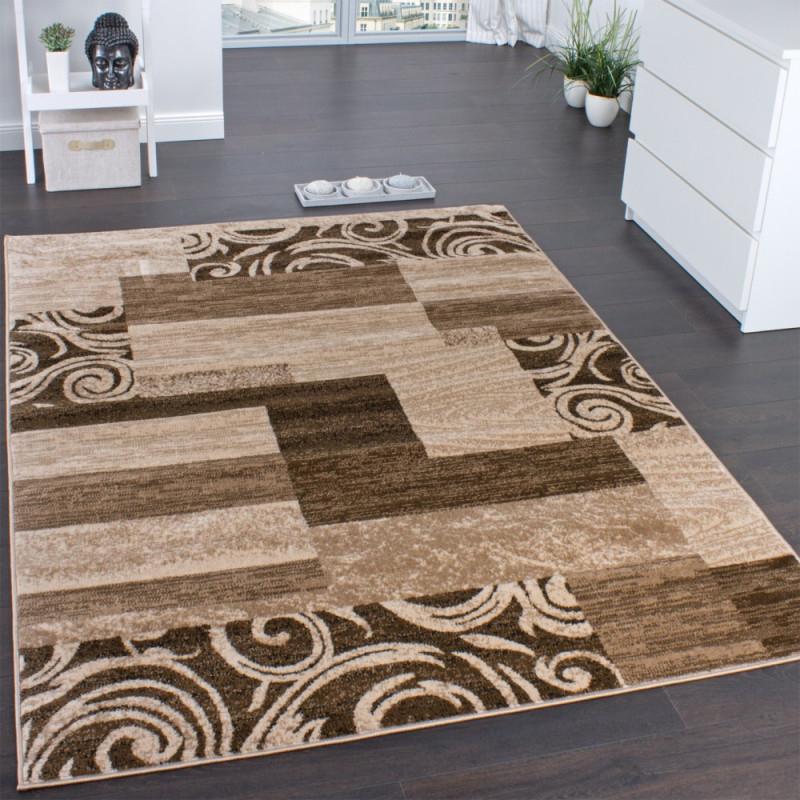 Designerteppich Muster Meliert Beige von Wohnzimmer Teppich Braun Beige Bild