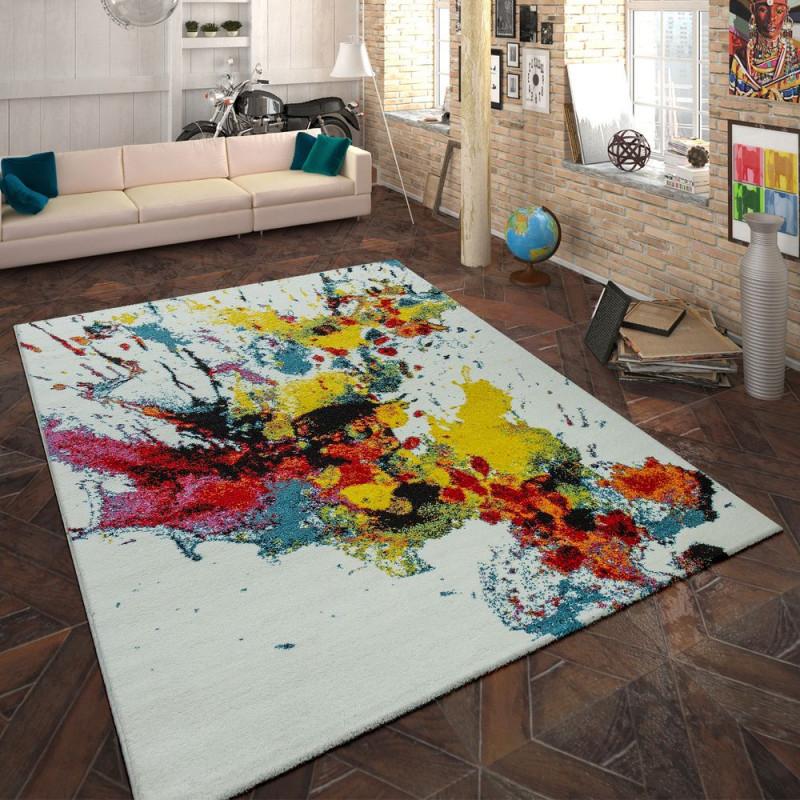 Designteppich Wohnzimmer Farbklecks von Designer Teppich Wohnzimmer Bild