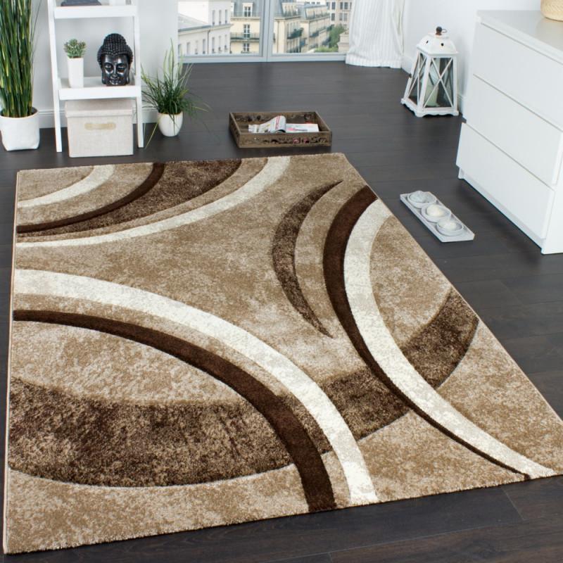 Designteppich Wohnzimmer Linienmuster 3D von Wohnzimmer Teppich Braun Beige Bild
