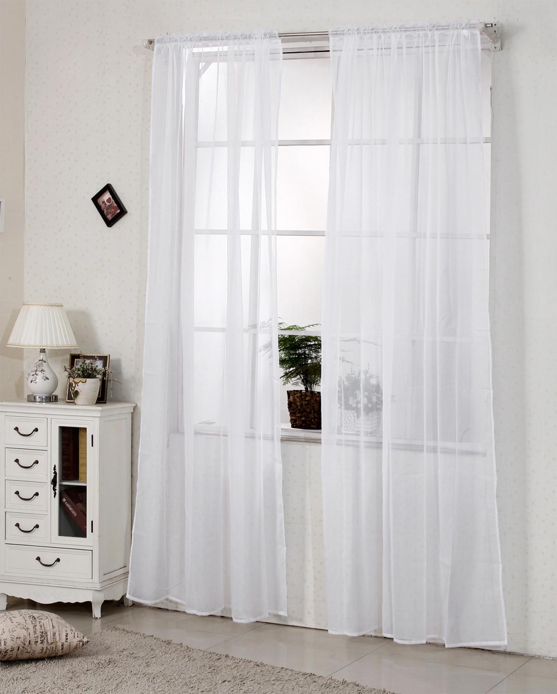 Details Zu 2X Gardine Vorhang Transparent Dekoschal Kräuselband 140X225Cm  Weiß Vh5515Ws2 von Wohnzimmer Gardinen Weiß Bild