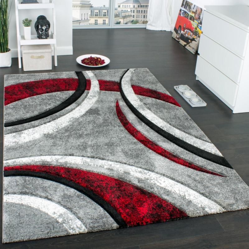 Details Zu Designer Teppich Mit Konturenschnitt Muster Gestreift Grau  Schwarz Rot Meliert von Wohnzimmer Teppich 160X230 Photo