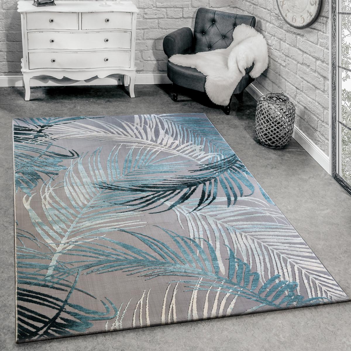 Details Zu Designer Teppich Modern Wohnzimmer Teppiche 3D Palmen Muster In  Grau Türkis Crem von Teppich Wohnzimmer Türkis Bild