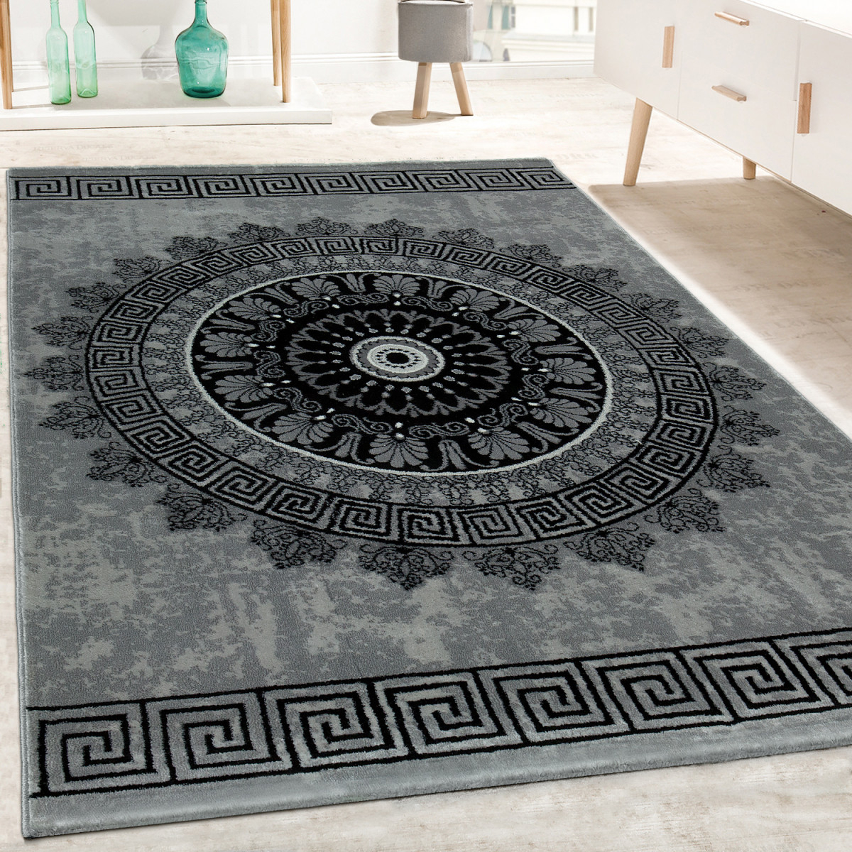 Details Zu Designer Teppich Wohnzimmer Mandala Muster Kurzflor Barock Stil  In Grau Schwarz von Designer Teppich Wohnzimmer Bild