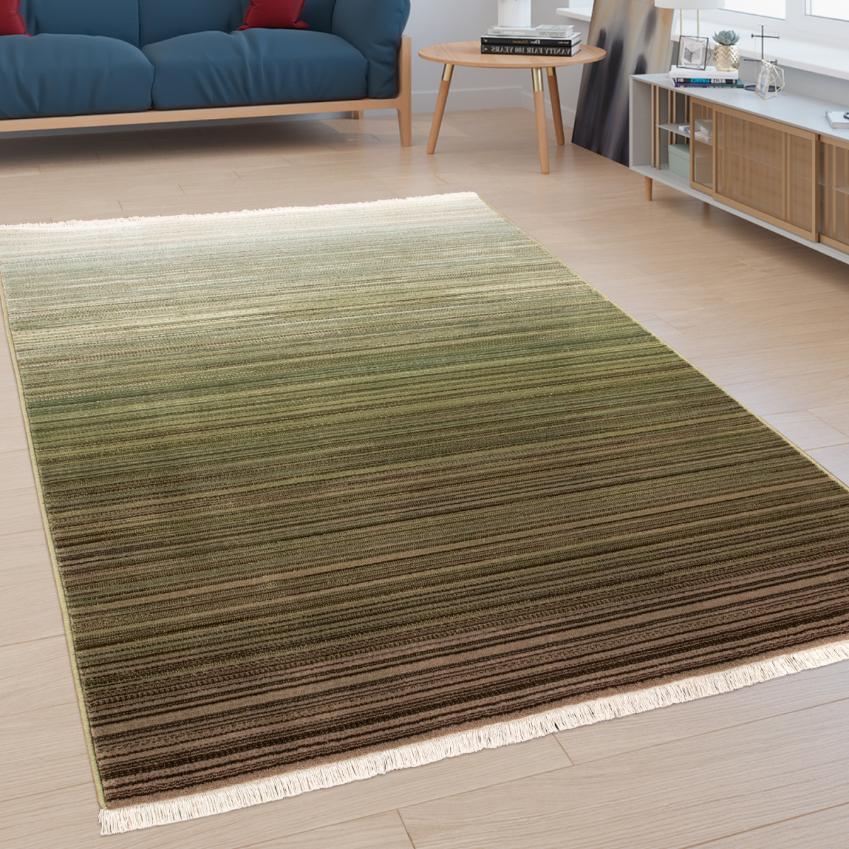Details Zu Designerteppich Kurzflorteppich Für Wohnzimmer Mit  Farbverlauf In Grün von Teppich Wohnzimmer Grün Photo