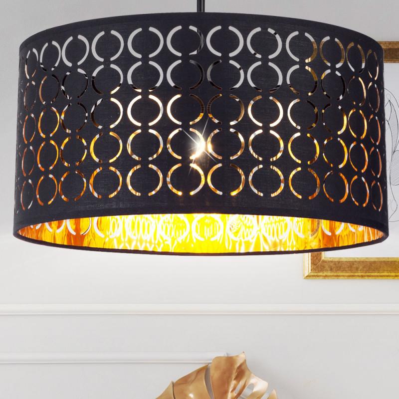 Details Zu Hänge Leuchte Wohn Wohnraum Pendel Beleuchtung Textil Decken  Lampe Schwarz Gold von Wohnzimmer Lampe Schwarz Gold Bild
