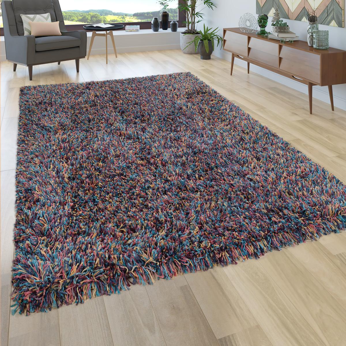 Details Zu Hochflor Teppich Wohnzimmer Shaggy In Multicolor Bunt Extra  Langer Weicher Flor von Teppich Für Wohnzimmer Photo