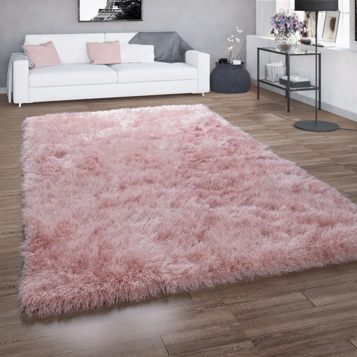 Details Zu Hochflorteppich Für Wohnzimmer Shaggy Mit Glitzergarn  Einfarbig In Rosa von Flauschiger Teppich Wohnzimmer Photo