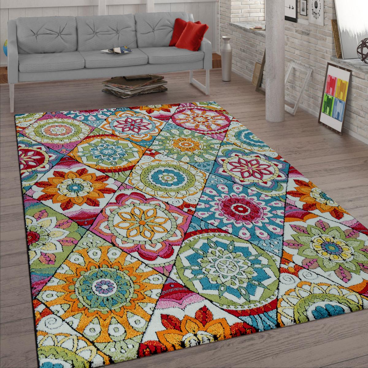 Details Zu Kurzflor Teppich Wohnzimmer Bunt Retro Design Mandala Muster  Design Boho Stil von Teppich Wohnzimmer Bunt Photo