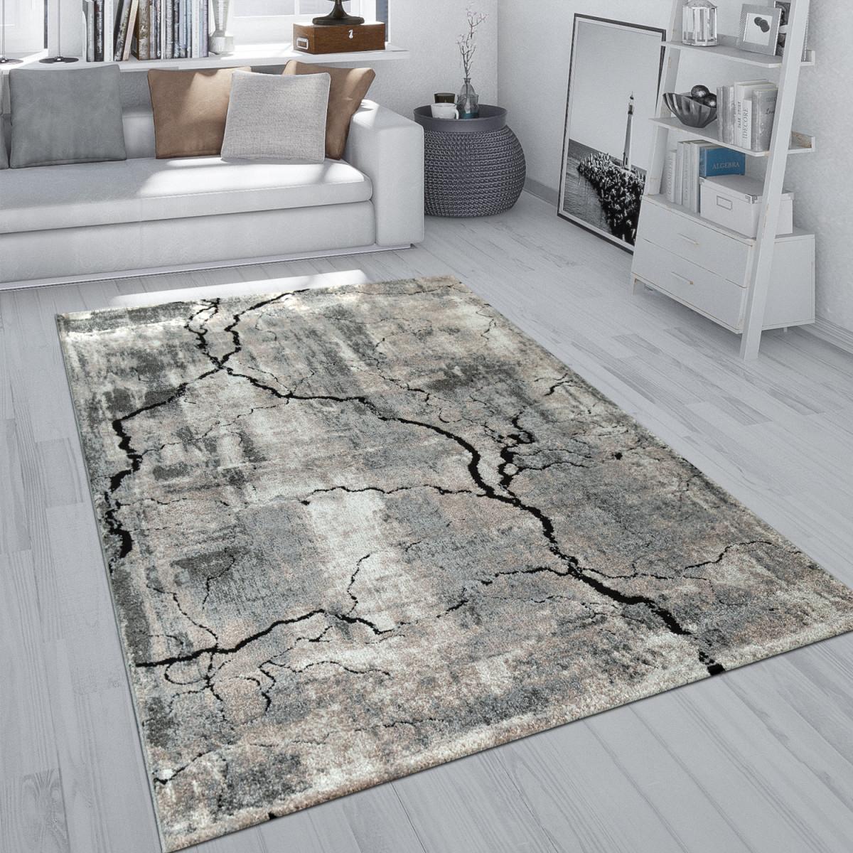 Details Zu Kurzflor Teppich Wohnzimmer Grau Weich Used Look Beton Design  3D Muster Risse von Grauer Wohnzimmer Teppich Bild