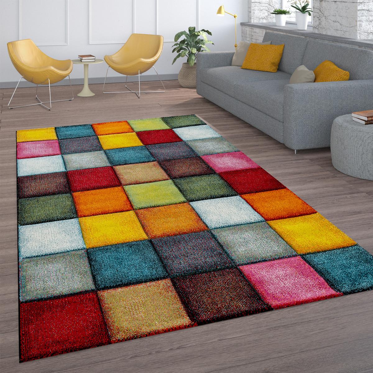Details Zu Kurzflor Wohnzimmer Teppich Bunt Karo Design Vierecke Mehrfarbig  Farbenfroh von Teppich Vorleger Wohnzimmer Photo
