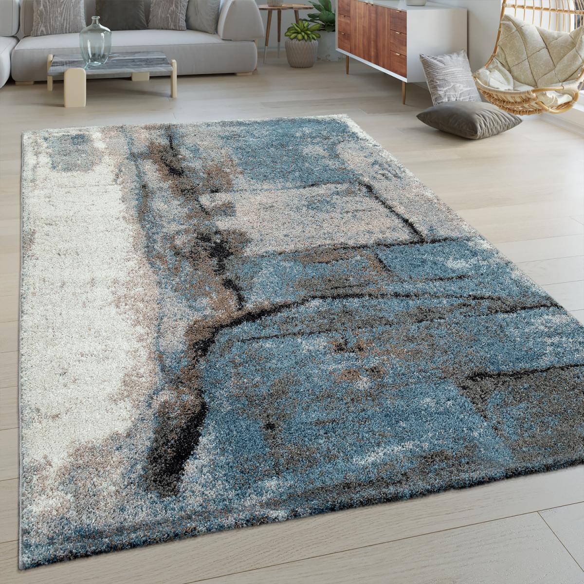 Details Zu Kurzflor Wohnzimmer Teppich Modern Abstraktes Design Stein  Muster In Blau Grau von Teppich Blau Wohnzimmer Bild