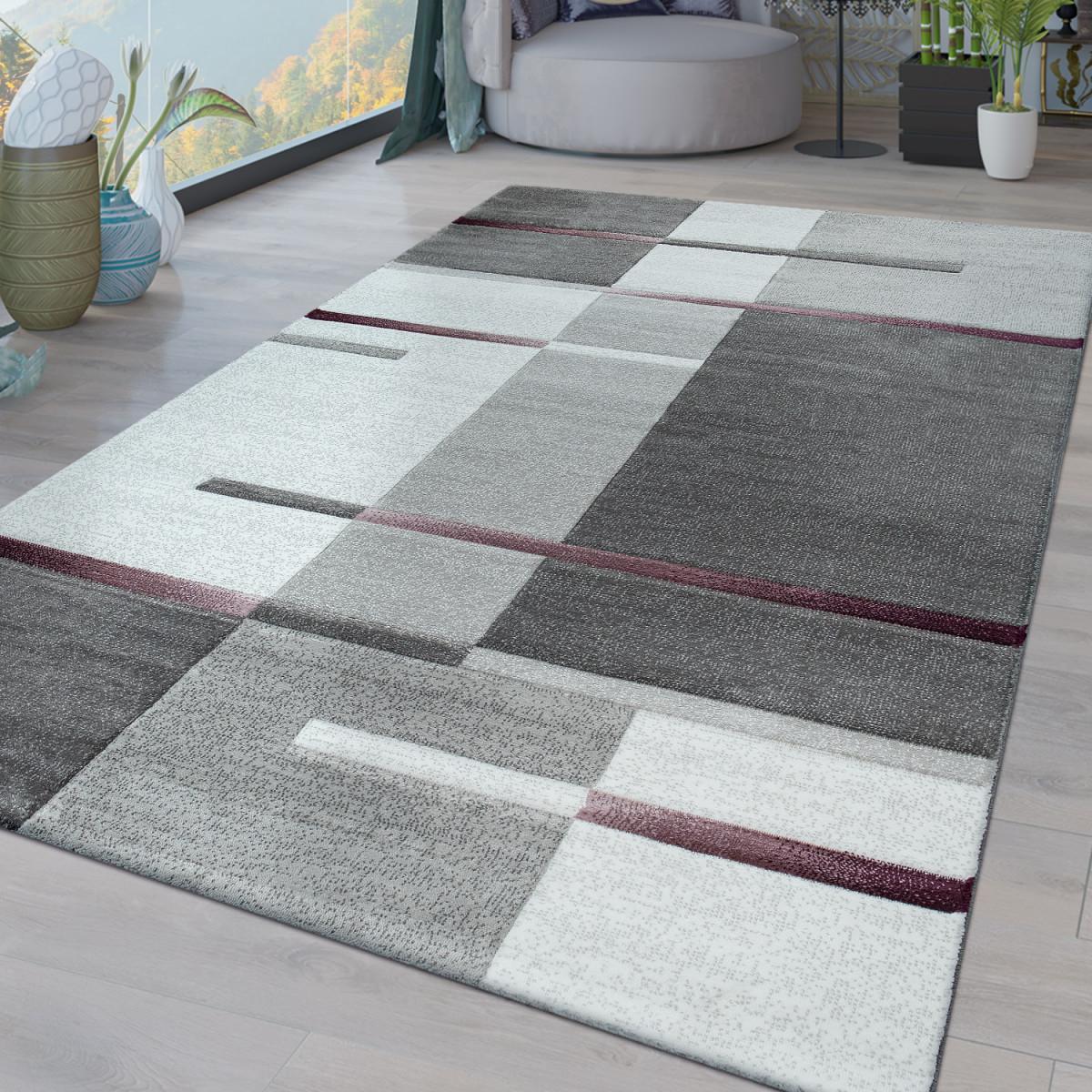 Details Zu Kurzflor Wohnzimmer Teppich Modern Geometrisches Design Karo  Muster In Lila Grau von Wohnzimmer Teppich Modern Bild