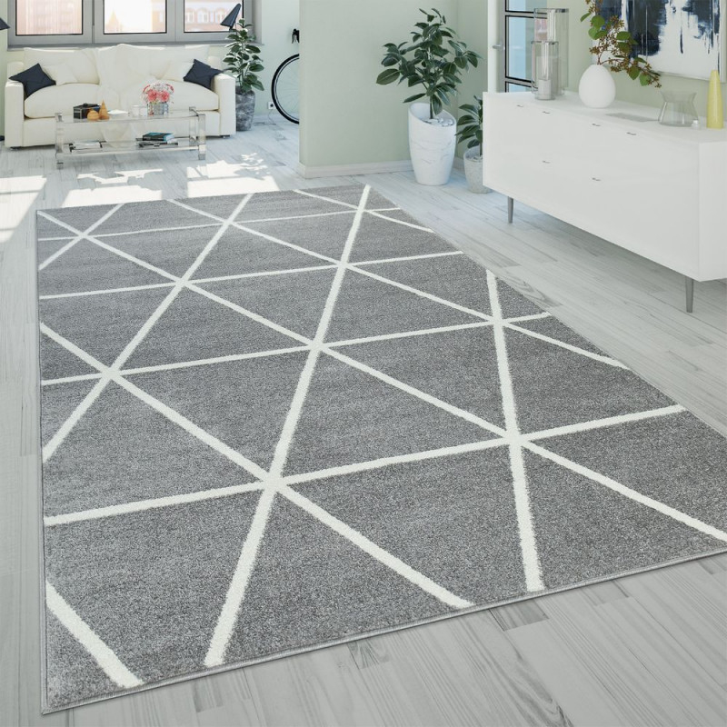 Details Zu Kurzflor Wohnzimmer Teppich Modern Geometrisches Design Rauten  Muster In Grau von Wohnzimmer Teppich Grau Kurzflor Bild
