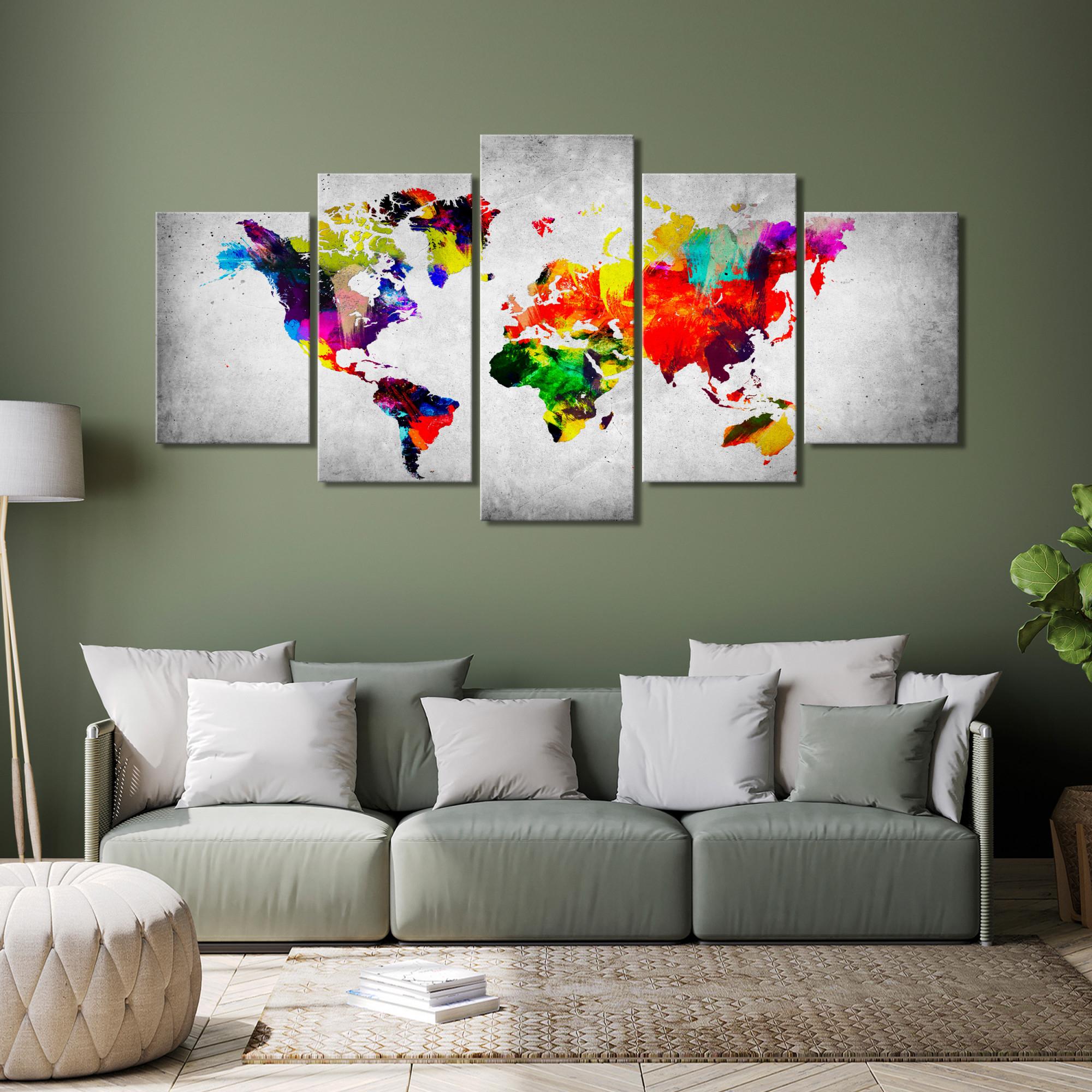 Details Zu Landkarte Leinwand Bilder Weltkarte Abstrakt Bunt Groß  Wandbilder Xxl Wohnzimmer von Bilder Für Wohnzimmer Gross Photo