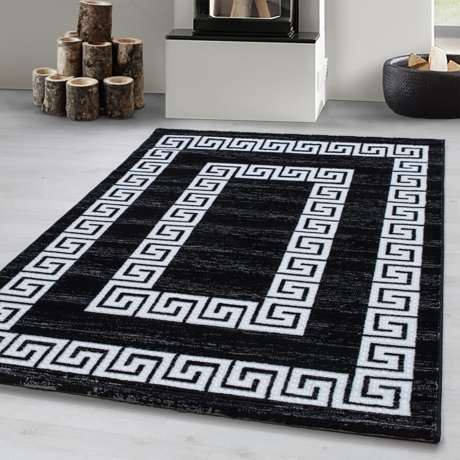 Details Zu Modern Designer Teppich Wohnzimmer Kurzflor Versace Muster Lurex  Schwarz Weiß von Teppich Wohnzimmer Schwarz Bild