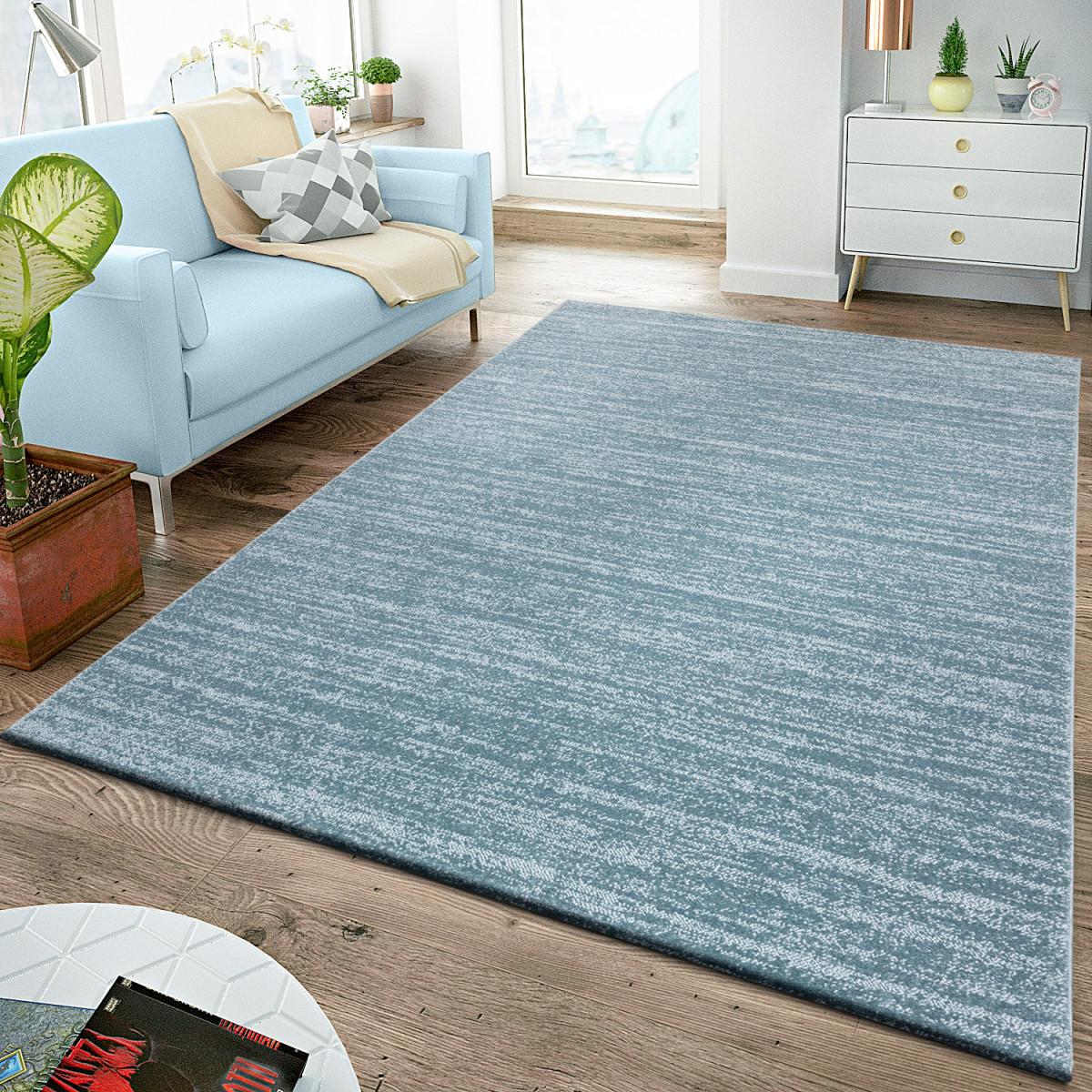 Details Zu Moderner Uni Teppich Kurzflor Wohnzimmer Teppiche Pflegeleicht  Meliert In Blau von Wohnzimmer Teppich Blau Bild