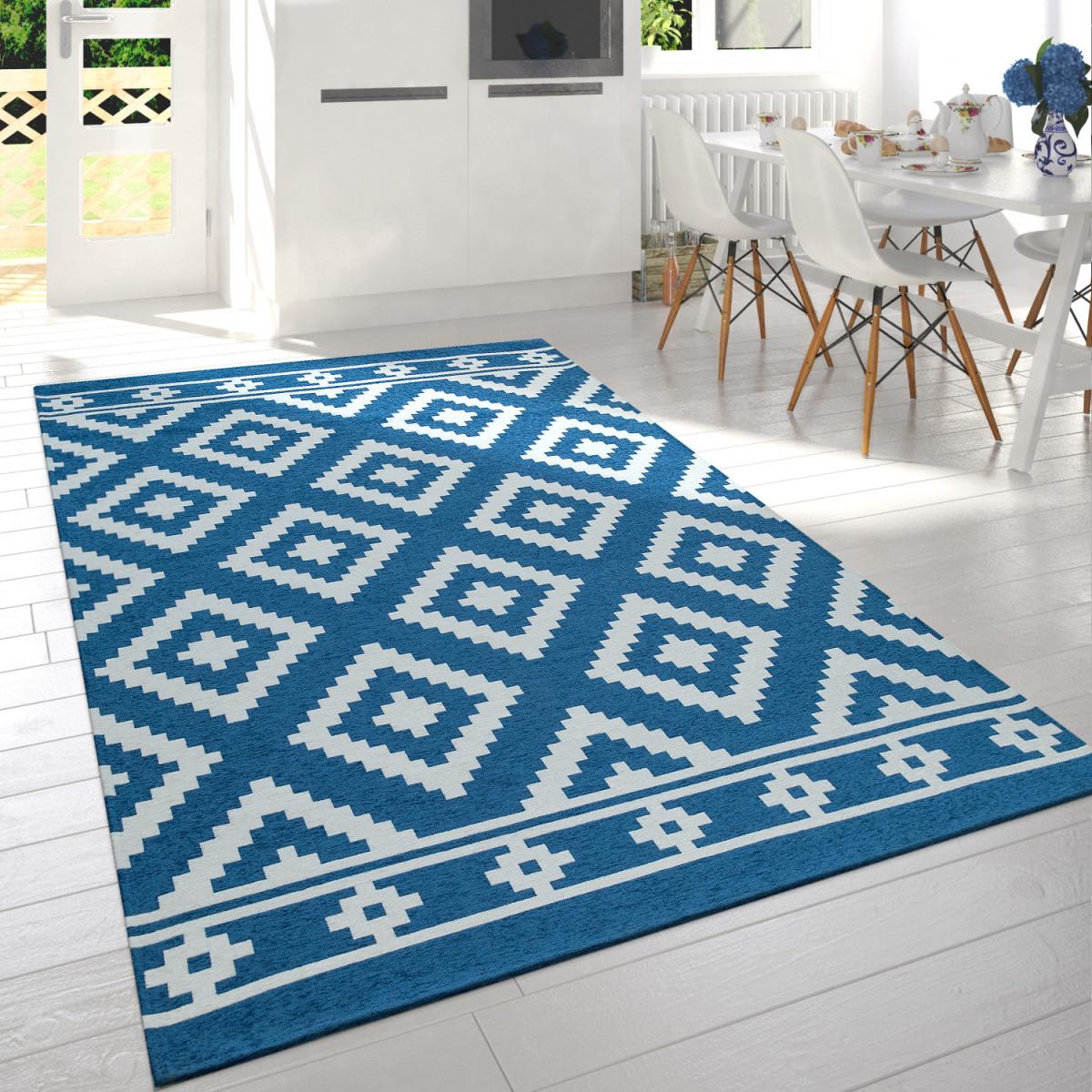 Details Zu Moderner Wohnzimmer Kurzflor Teppich Skandi Design Rauten Muster  In Blau Weiß von Teppich Wohnzimmer Blau Photo