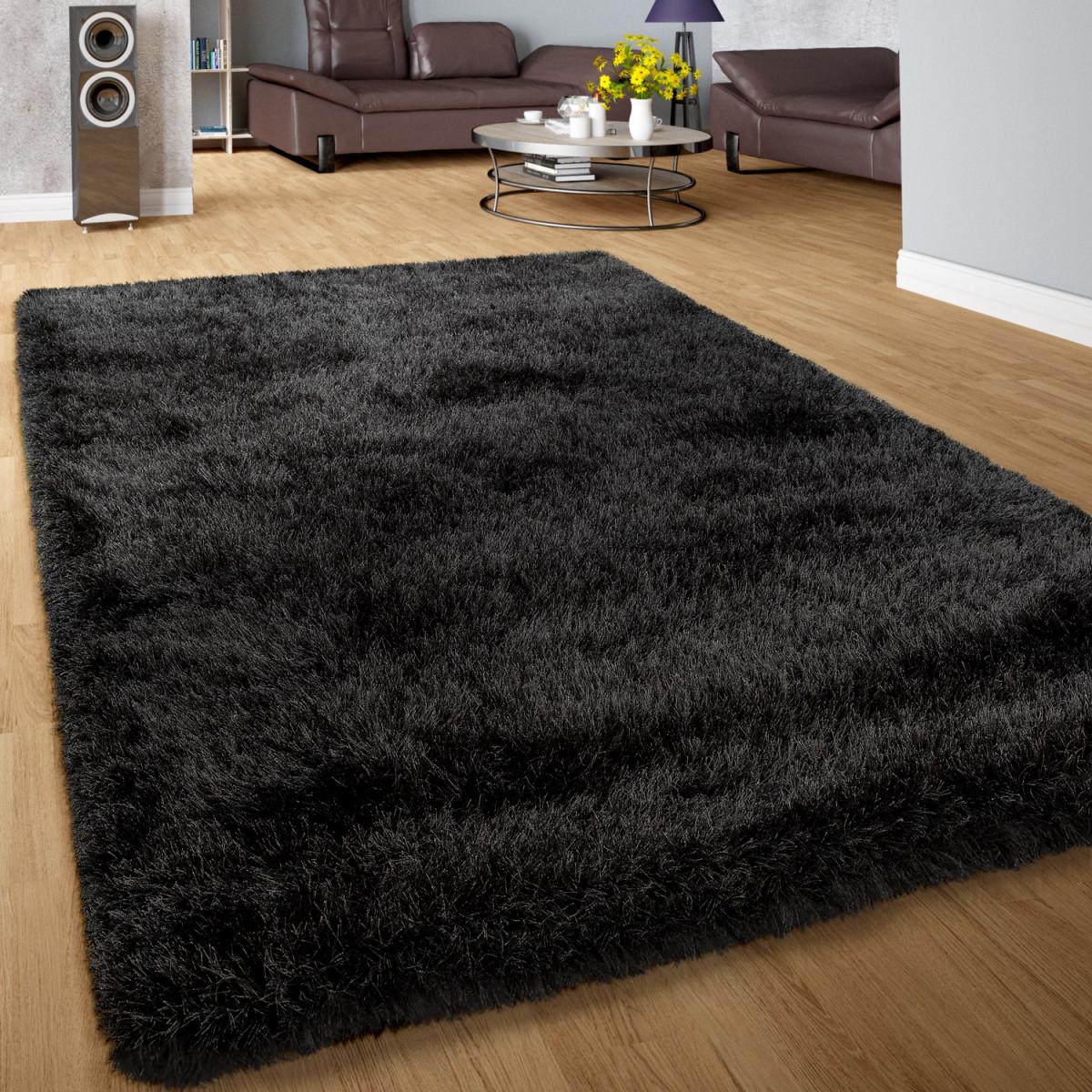 Details Zu Moderner Wohnzimmer Shaggy Hochflor Teppich Soft Garn In Uni  Anthrazit Grau von Wohnzimmer Teppich Anthrazit Photo