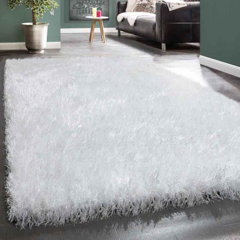 Details Zu Moderner Wohnzimmer Shaggy Hochflor Teppich Soft Garn In Uni Weiß von Wohnzimmer Teppich Weiß Bild