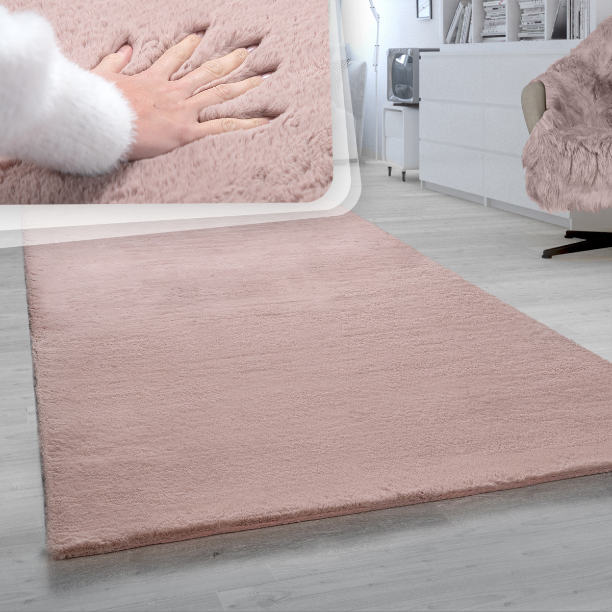 Details Zu Shaggy Teppich Wohnzimmer Rosa Pink Schlafzimmer Hochflor Fell  Kuschelig Weich von Rosa Teppich Wohnzimmer Bild