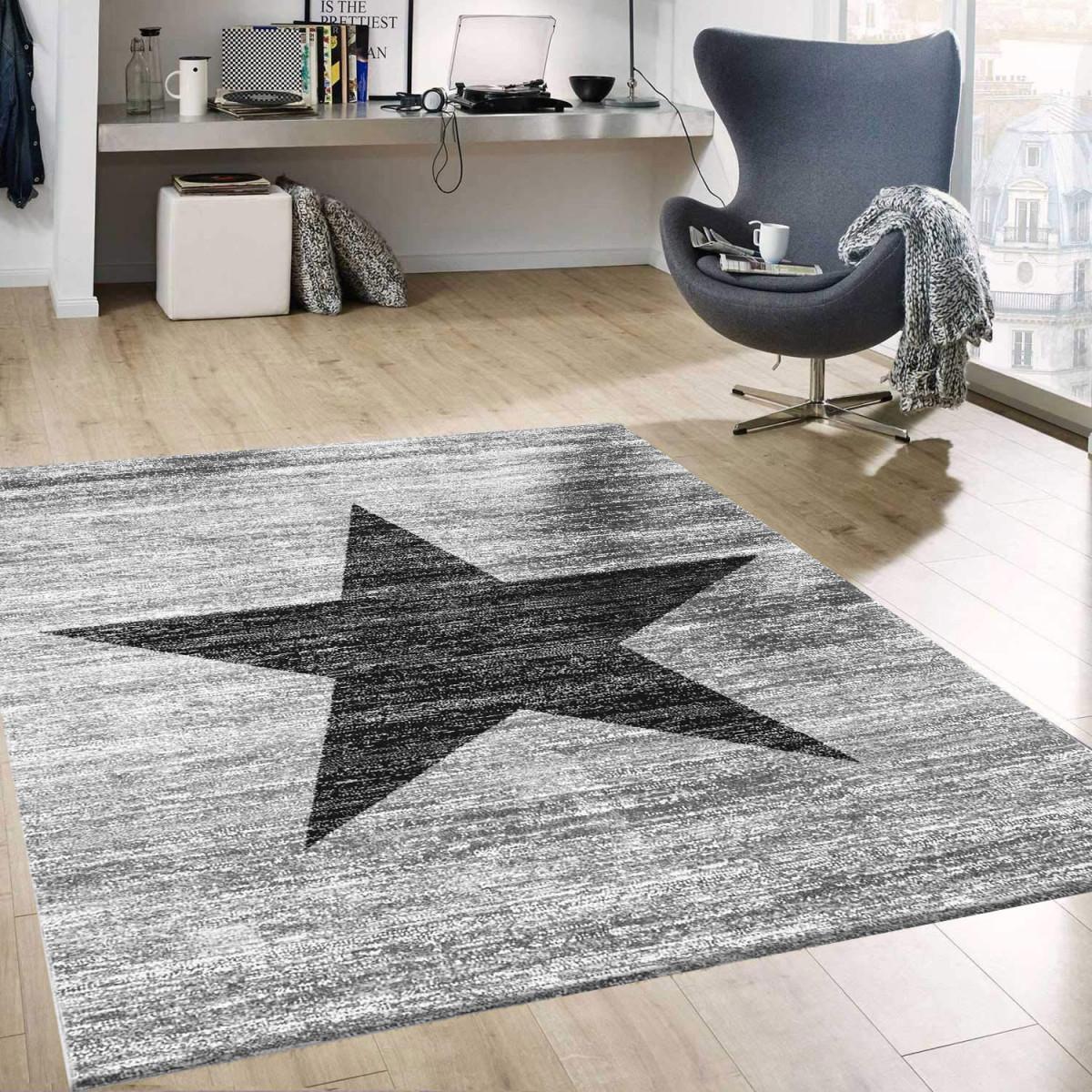Details Zu Stern Muster Teppich Meliert In Grau Schwarz Stylish Accessoire von Teppich Set Wohnzimmer Photo
