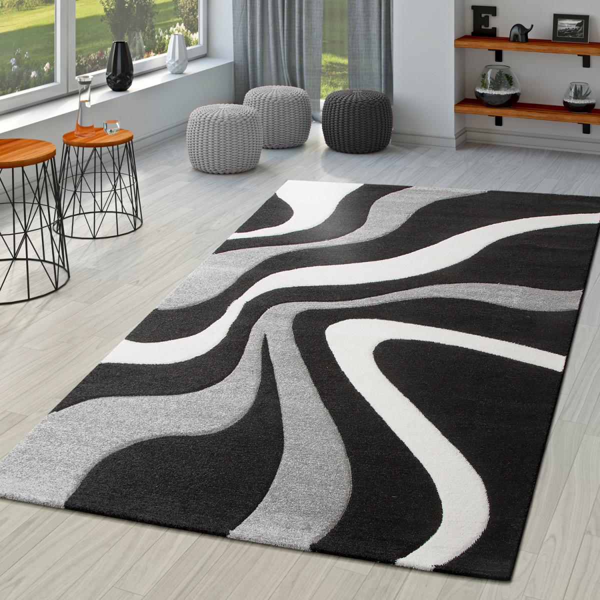 Details Zu Teppich Schwarz Weiß Grau Wohnzimmer Teppiche Modern Mit  Konturenschnitt von Wohnzimmer Teppich Schwarz Bild