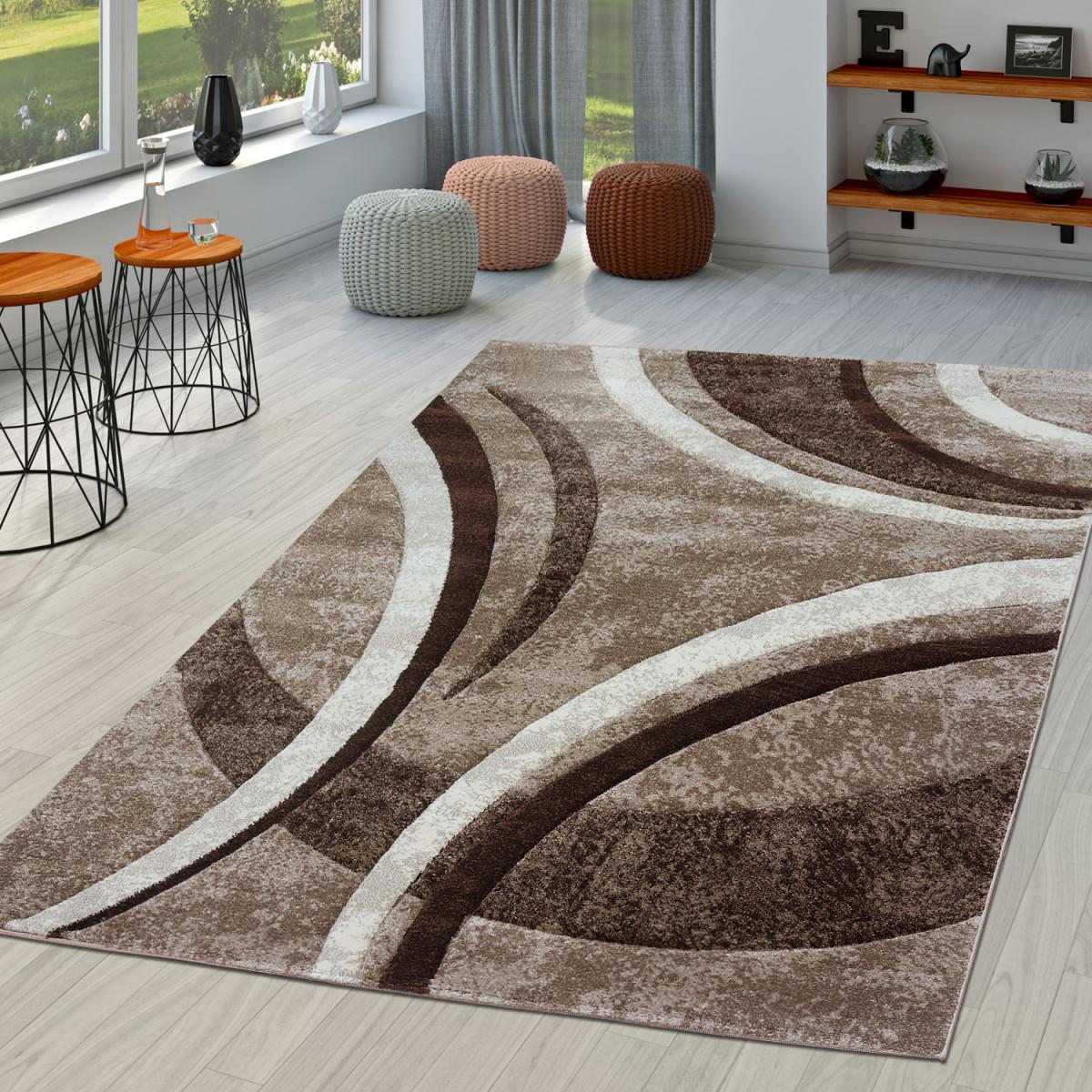 Details Zu Teppich Wohnzimmer Gestreift Modern Mit Konturenschnitt In Braun  Beige Creme von Wohnzimmer Teppich Braun Beige Bild
