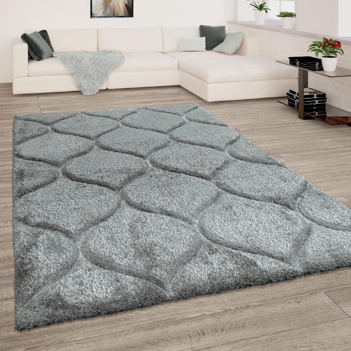 Details Zu Teppich Wohnzimmer Grau Anthrazit Hochflor Weich Shaggy  Flauschig Wellen Muster von Teppich Wohnzimmer Grau Bild